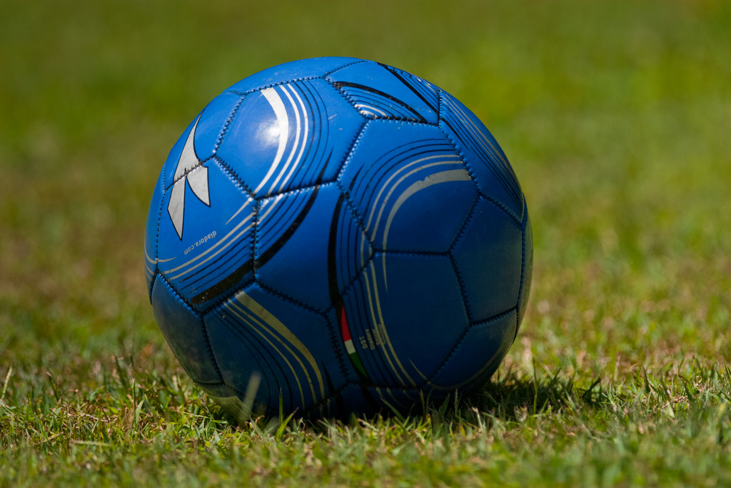 Blue Football on Green Grass